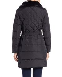 MICHAEL Michael Kors | Black Convertible Faux Fur-collared Belted Coat | Lyst