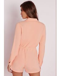 Missguided - Natural Wrap Front Shirt Playsuit Nude - Lyst
