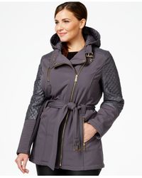 Michael Kors | Gray Michael Plus Size Quilted-trim Asymmetrical Trench Coat | Lyst