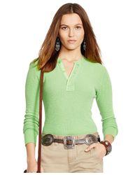 Polo Ralph Lauren Green Button-front Henley Top