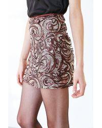 Silence + Noise - Brown Sequin Mini Skirt - Lyst