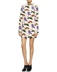 Stella McCartney White Cat-Print Charmeuse Shift Dress