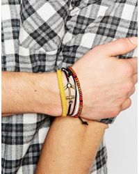 ASOS - Multicolor Ditsy Bracelet Pack With Anchor for Men - Lyst