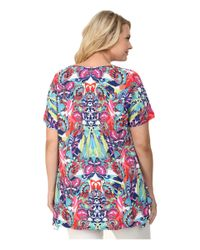 Nally & Millie Multicolor Plus Size Pucci Sharkbite Tunic