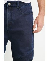 Forever 21 - Blue Topstitched Denim Joggers for Men - Lyst