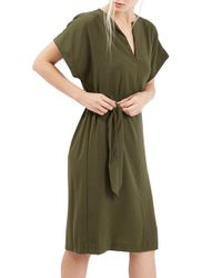 TOPSHOP | Green Belted A-line Dress | Lyst