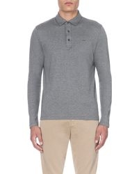 Michael Kors | Gray Long-sleeved Cotton-jersey Polo Shirt - For Men for Men | Lyst