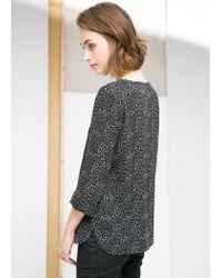 Mango - Black Bicolor Print Blouse - Lyst