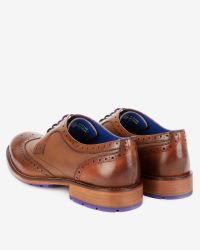 Ted Baker | Brown Leather Wingtip Derby Brogues for Men | Lyst