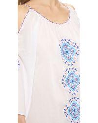Pia Pauro - Blue Tiles Embroidered Beach Dress - White - Lyst