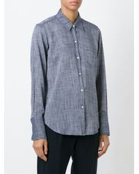 Nili Lotan Blue Woven Chambray Shirt
