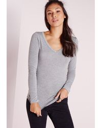 Missguided | Gray Basic Long Sleeve V Neck Top Grey | Lyst