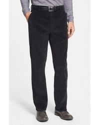 Cutter & Buck | Black 'walker' Flat Front Straight Leg Corduroy Pants for Men | Lyst