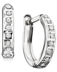 Macy's Metallic Hoop Earrings, 14k White Gold Diamond Accents