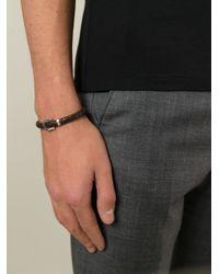 Ferragamo Brown Woven Gancio Bracelet for men