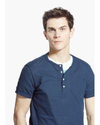 Mango Blue Piqué Henley T-Shirt for men