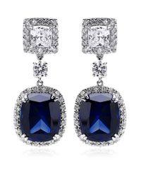 Carat* Blue Sapphire Borderset Drop Earrings