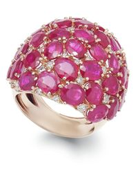 Macy's | Pink Ruby (18 Ct. T.w.) And Diamond (9/10 Ct. T.w.) Dome Ring In 14k Rose Gold | Lyst