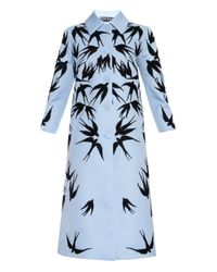 Rochas Blue Swallow Embellished Wool And Silk-blend Coat