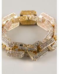 Eddie Borgo Metallic Gold-plated Large Supra Link Bracelet With Crystals - Gold