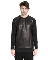 Giorgio Brato Black Nappa Leather & Cotton Sweatshirt for men