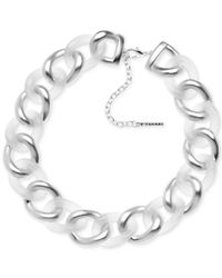 T Tahari - Metallic Silver-tone White Chunky Link Necklace - Lyst