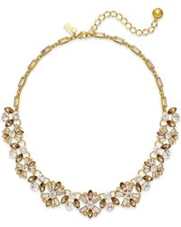 kate spade new york - Metallic 12k Gold-plated Imitation Pearl And Crystal Small Necklace - Lyst