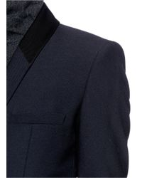 Helmut Lang Blue Stretch Wool Gabardine Blazer