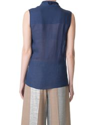 Tibi Blue Wool Gauze Sleeveless Wrap Top
