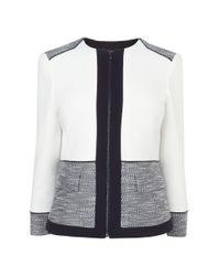 L.K.Bennett Multicolor Seta Fabric Blocked Jacket
