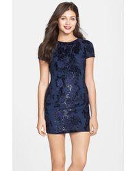 Dress the Population - Blue 'beverly' Embroidered Chiffon Minidress - Lyst