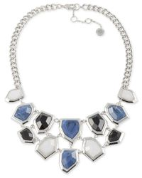 French Connection | Blue Silver-Tone Multi-Stone Bib Necklace | Lyst