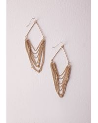 Missguided | Metallic Layered Chain Earrings | Lyst