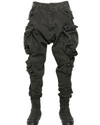 Julius Gray Washed Cotton Denim Cargo Trousers for men