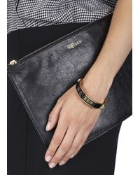 Alexander McQueen | Metallic Black Thin Enamel Bracelet | Lyst