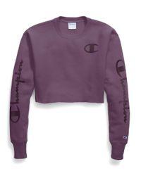 Champion Purple Life® Reverse Weave® Crop Cut Off Crew, Flock Script