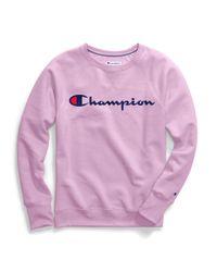 Champion Pink Powerblend® Fleece Boyfriend Crew, Script Logo