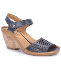 Pikolinos Blue Capri Womens Wedge Heel Sandals