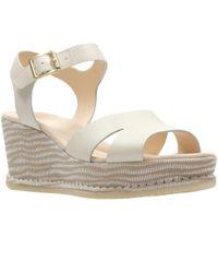 Clarks White Akilah Eden Womens Wedge Sandals