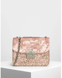 Charles & Keith Pink Two-tone Chain Top Handle Bag