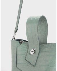 Charles & Keith Green Croc-effect Wristlet Handle Bucket Bag