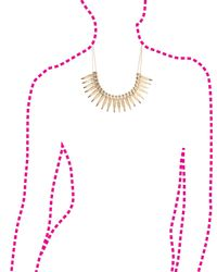 Charlotte Russe - Metallic Double Chain Feather Statement Necklace - Lyst