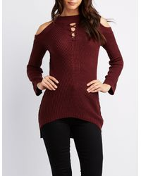 d3121bd29b Lyst - Charlotte Russe Mock Neck Lace-up Cold Shoulder Sweater in Red