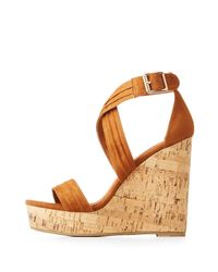 Charlotte Russe - Brown Ruched Ankle Wrap Wedges - Lyst