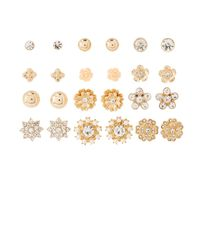 Charlotte Russe - Metallic Embellished Stud Earrings -12 Pack - Lyst