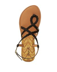 Charlotte Russe - Black Qupid Braided Strappy Flat Sandals - Lyst