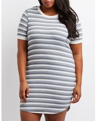 cab10425c3 Lyst - Charlotte Russe Plus Size Striped Ringer Bodycon Dress in Gray