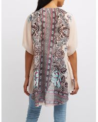 Charlotte Russe - Multicolor Floral Print Kimono - Lyst
