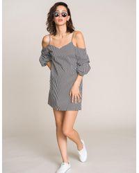 Charlotte Russe - Gray Striped Cold Shoulder Dress - Lyst