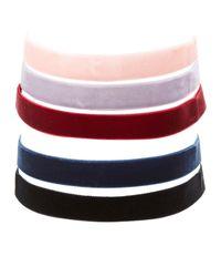Charlotte Russe - Multicolor Velvet Choker Necklaces - 5 Pack - Lyst